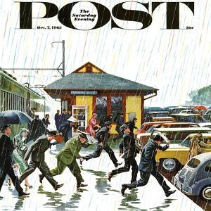 """Commuters in the Rain,"" Saturday Evening Post Cover, October 7, 1961 by John Falter"