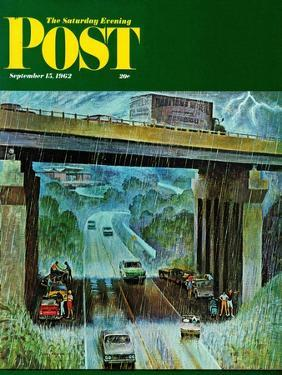 """""""Convertibles Take Cover in Rain,"""" Saturday Evening Post Cover, September 15, 1962 by John Falter"""