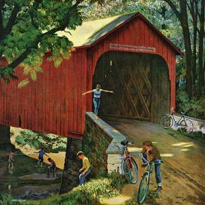 """Covered Bridge"", August 14, 1954 by John Falter"