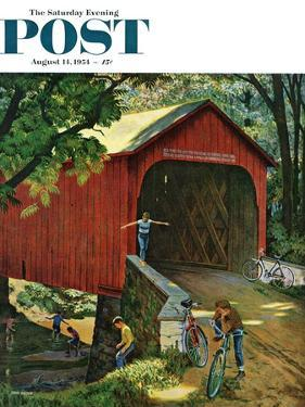 """""""Covered Bridge"""" Saturday Evening Post Cover, August 14, 1954 by John Falter"""