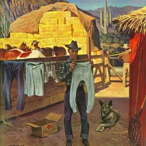 """""""Cowboy Hanging Out His Laundry,"""" March 1, 1947 by John Falter"""