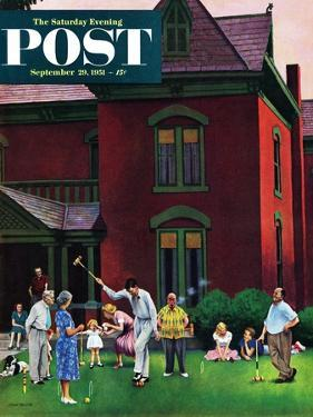 """""""Croquet Game"""" Saturday Evening Post Cover, September 29, 1951 by John Falter"""
