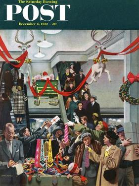 """""""Department Store at Christmas"""" Saturday Evening Post Cover, December 6, 1952 by John Falter"""