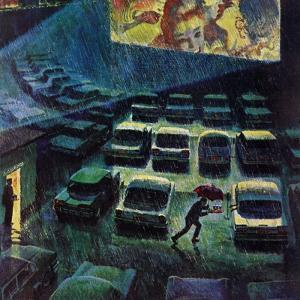 """""""Drive-In Movie in the Rain,"""" May 13, 1961 by John Falter"""