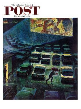 """""""Drive-In Movie in the Rain,"""" Saturday Evening Post Cover, May 13, 1961 by John Falter"""