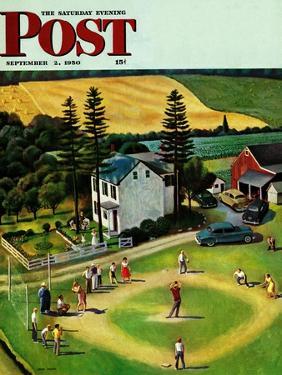 """""""Family Baseball"""" Saturday Evening Post Cover, September 2, 1950 by John Falter"""