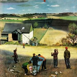"""Flying Kites"", March 18, 1950 by John Falter"