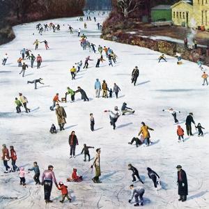 """""""Fox River Ice-Skating"""", January 11, 1958 by John Falter"""