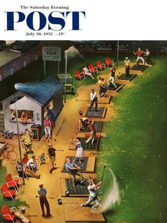 """""""Golf Driving Range"""" Saturday Evening Post Cover, July 26, 1952"""