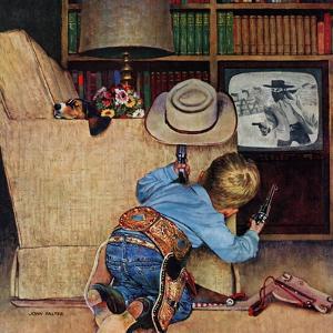 """""""Good Guys Wear White Hats"""", November 9, 1957 by John Falter"""