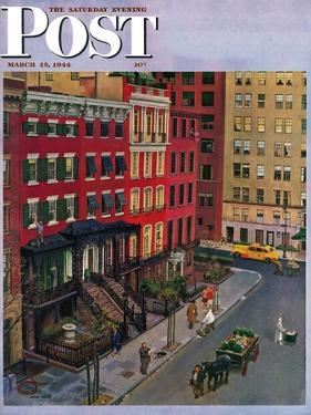 """""""Gramercy Park,"""" Saturday Evening Post Cover, March 25, 1944 by John Falter"""