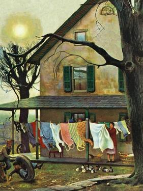 """Hanging Clothes Out to Dry,"" April 7, 1945 by John Falter"