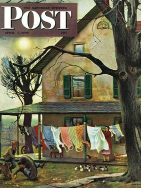 """""""Hanging Clothes Out to Dry,"""" Saturday Evening Post Cover, April 7, 1945 by John Falter"""