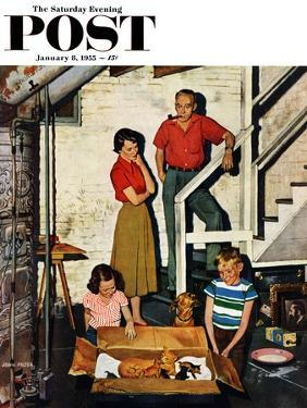 """""""Kittens in the Basement"""" Saturday Evening Post Cover, January 8, 1955 by John Falter"""
