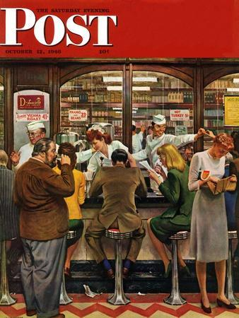 """""""Lunch Counter,"""" Saturday Evening Post Cover, October 12, 1946"""