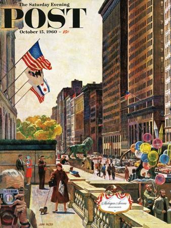 """Michigan Avenue, Chicago,"" Saturday Evening Post Cover, October 15, 1960 by John Falter"