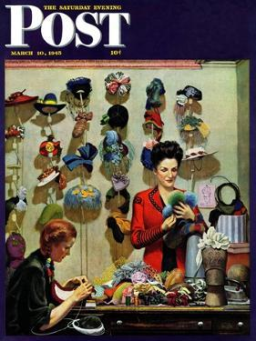 """Millinery Shop,"" Saturday Evening Post Cover, March 10, 1945 by John Falter"