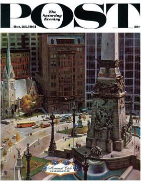 """""""Monument Circle,"""" Saturday Evening Post Cover, October 28, 1961 by John Falter"""