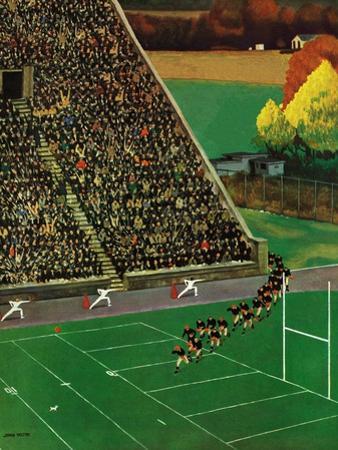 """""""Onto the Field,"""" November 1, 1947 by John Falter"""