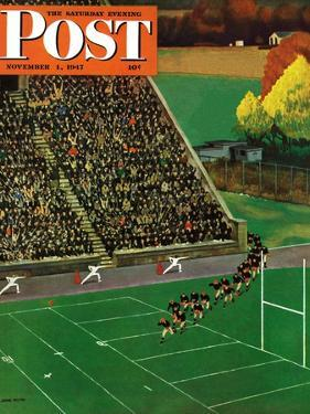 """""""Onto the Field,"""" Saturday Evening Post Cover, November 1, 1947 by John Falter"""