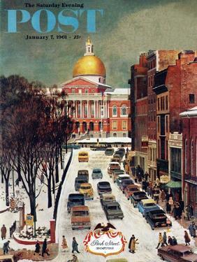 """Park Street, Boston,"" Saturday Evening Post Cover, January 7, 1961 by John Falter"