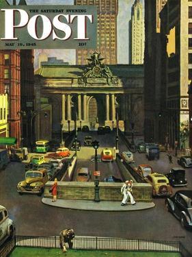 """Pershing Square,"" Saturday Evening Post Cover, May 19, 1945 by John Falter"