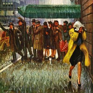 """""""Rainy Wait for a Cab,"""" March 29, 1947 by John Falter"""