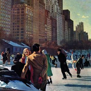 """""""Skaters in Central Park,"""" February 7, 1948 by John Falter"""