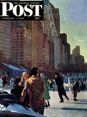 """""""Skaters in Central Park,"""" Saturday Evening Post Cover, February 7, 1948 by John Falter"""