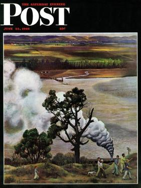 """""""Steam Engine Along the Missouri,"""" Saturday Evening Post Cover, June 22, 1946 by John Falter"""