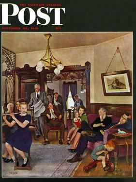 """Thanksgiving Flute Performance,"" Saturday Evening Post Cover, November 30, 1946 by John Falter"