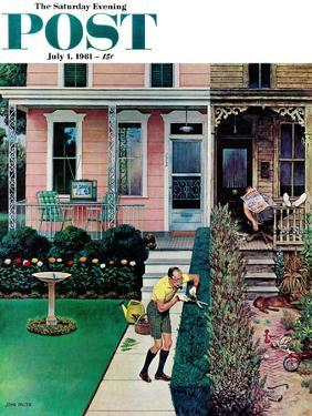"""""""Tidy and Sloppy Neighbors,"""" Saturday Evening Post Cover, July 1, 1961 by John Falter"""
