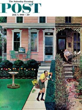 """Tidy and Sloppy Neighbors,"" Saturday Evening Post Cover, July 1, 1961 by John Falter"