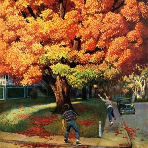 """Tossing the Football"", October 27, 1956 by John Falter"