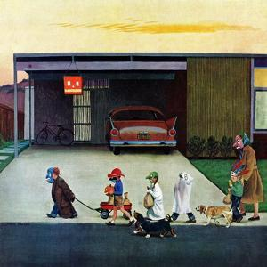 """""""Trick-Or-Treating in the Burbs"""", November 1, 1958 by John Falter"""