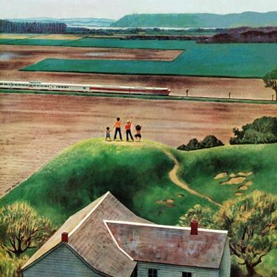 """""""Waving to Train in the Distance"""", May 4, 1957 by John Falter"""
