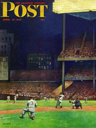 """Yankee Stadium,"" Saturday Evening Post Cover, April 19, 1947 by John Falter"