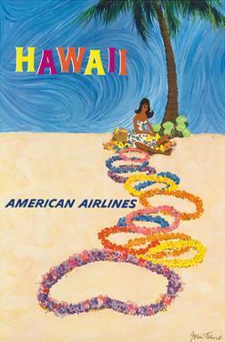 Hawaii - American Airlines - Native Hawaiian Girl Making Leis by John Fernie