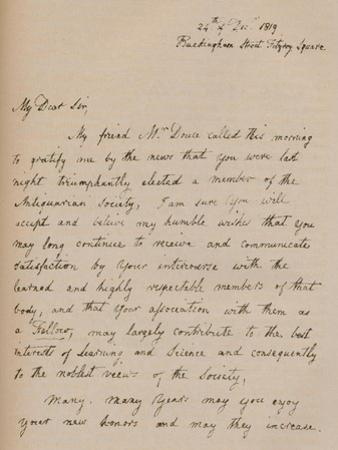 A letter from John Flaxman, 24 December 1819 (1904) by John Flaxman