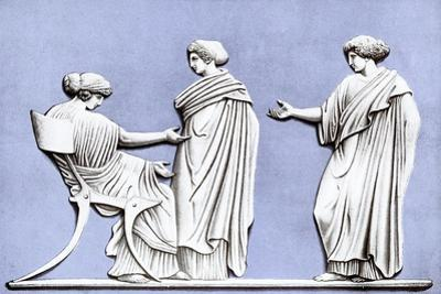 Penelope and Maidens, Wedgwood Plaque, 18th Century by John Flaxman