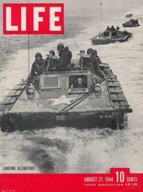 American Amphibious Tractors, Alligators, in action, August 21, 1944 by John Florea