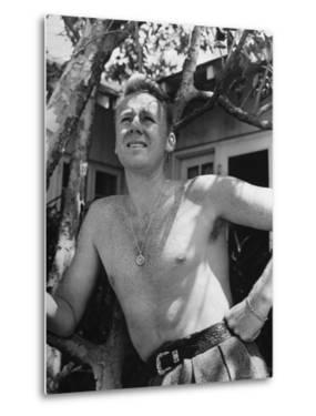 Bare Chested, Freckled Actor Van Johnson, Wearing a St. Christopher Medal Around His Neck by John Florea