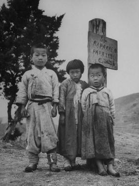 Children Standing in Front of Boundary Zone Sign Written in Russian, English, and Korean by John Florea