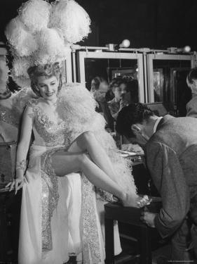 "Chorus Girl Getting a Pedicure During Filming of the Movie ""The Ziegfeld Follies"" by John Florea"