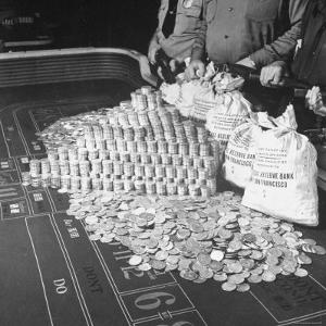 Police Guarding $500,000 in Silver Being Used During a WWII War Bond Rally in a Gambling Casino by John Florea