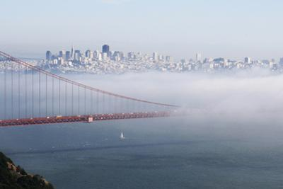 California, San Francisco Golden Gate Bridge Disappearing into Fog by John Ford