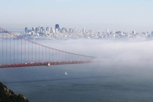 California, San Francisco Golden Gate Bridge Disappearing into Fog by John Ford