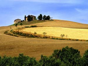 Italy, Tuscany, Farmhouse and Fields by John Ford