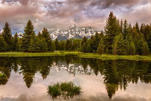 USA, Wyoming, Grand Teton's National Park Schwabacher Landing Sunrise by John Ford