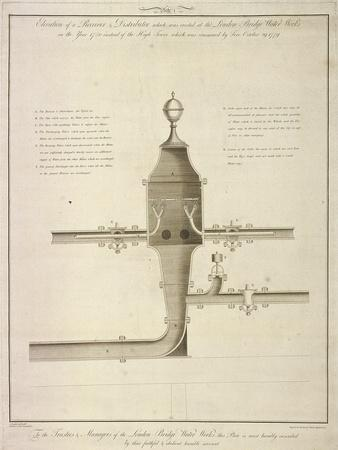 Elevation Plan of a Receiver and Distributor at the London Bridge Waterworks, 1780